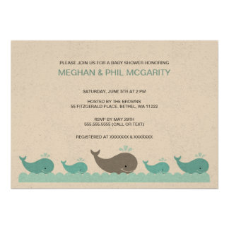 Turquoise and Gray Whales Baby Shower Invite