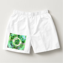 Turquoise and Green Abstract Collage Boxers