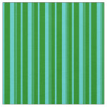 [ Thumbnail: Turquoise and Green Colored Lined Pattern Fabric ]