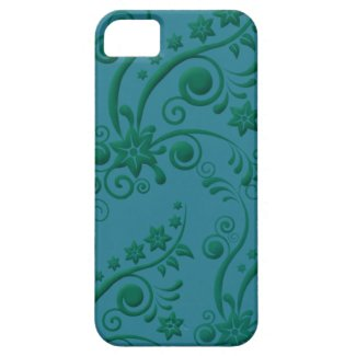 Turquoise and Green Floral iPhone 5 Case