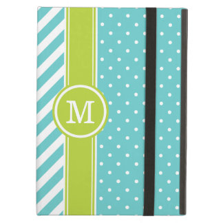 Turquoise and Green Monogram Dots and Stripes Cover For iPad Air