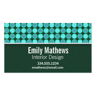 Turquoise and Green Polka Dots Double-Sided Standard Business Cards (Pack Of 100)