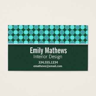 Turquoise and Green Polka Dots Business Card