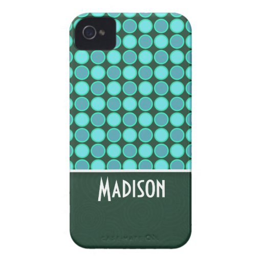Turquoise and Green Polka Dots iPhone 4 Case-Mate Case