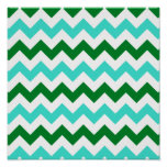 Turquoise and Green Zigzag Poster