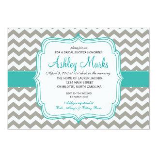 turquoise and Grey Chevron Invitaiton Card