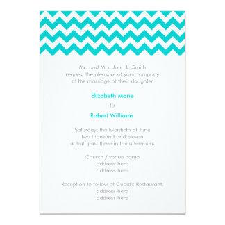 Turquoise and Grey Chevron Wedding Invitation