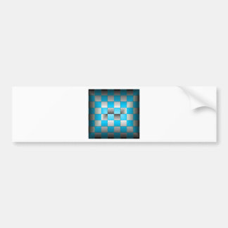 Turquoise and Grey Optical Illusion Checkerboard Bumper Sticker