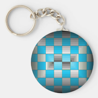 Turquoise and Grey Optical Illusion Checkerboard Keychains