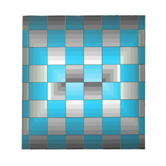 Turquoise and Grey Optical Illusion Checkerboard Scratch Pad