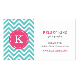 Turquoise and Hot Pink Chevron Custom Monogram Business Card Templates