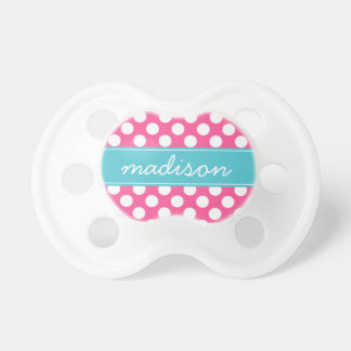 Turquoise and Hot Pink Polka Dots Custom Monogram BooginHead Pacifier