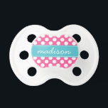 "Turquoise and Hot Pink Polka Dots Custom Monogram Pacifier<br><div class=""desc"">Nothing says cute like a chic trendy modern turquoise and hot pink polka dot custom monogram pacifier! The perfect baby shower gift! Change the font style,  move text,  and more by clicking on the &quot;Customize It&quot; button.</div>"