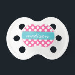 """Turquoise and Hot Pink Polka Dots Custom Monogram Pacifier<br><div class=""""desc"""">Nothing says cute like a chic trendy modern turquoise and hot pink polka dot custom monogram pacifier! The perfect baby shower gift! Change the font style,  move text,  and more by clicking on the &quot;Customize It&quot; button.</div>"""