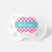 Turquoise and Hot Pink Polka Dots Custom Monogram Pacifier