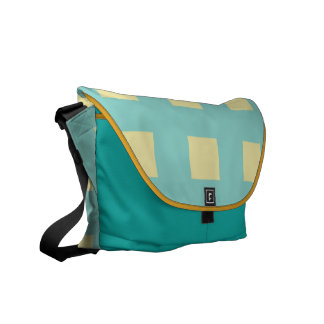 Turquoise and Lemon Squares Messenger Bag