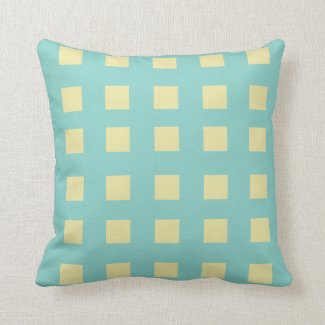 Turquoise and Lemon Squares Throw Pillow