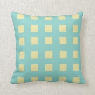 Turquoise and Lemon Squares Throw Pillow