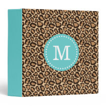Turquoise and Leopard Print Custom Monogram 3 Ring Binder