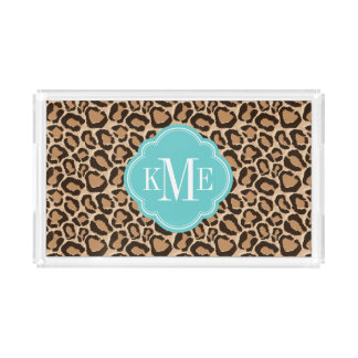 Turquoise and Leopard Print Custom Monogram Acrylic Tray