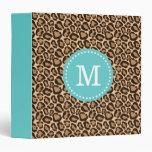 Turquoise and Leopard Print Custom Monogram Binders