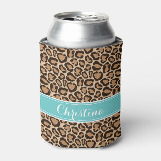 Turquoise and Leopard Print Custom Monogram Can Cooler