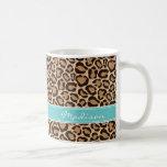Turquoise and Leopard Print Custom Monogram Coffee Mug