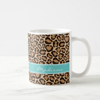 Turquoise and Leopard Print Custom Monogram Coffee Mug