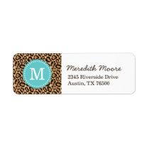 Turquoise and Leopard Print Custom Monogram Label