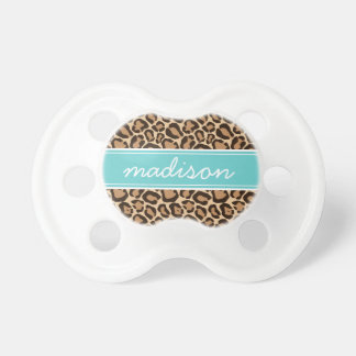 Turquoise and Leopard Print Custom Monogram Baby Pacifier
