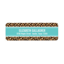 Turquoise and Leopard Print Label