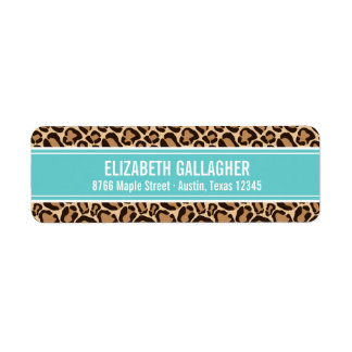 Turquoise and Leopard Print Return Address Label