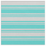 [ Thumbnail: Turquoise and Light Grey Colored Lines Fabric ]