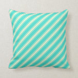 [ Thumbnail: Turquoise and Light Yellow Colored Pattern Pillow ]