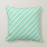 [ Thumbnail: Turquoise and Light Yellow Colored Stripes Pillow ]
