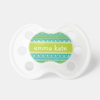 Turquoise and Lime Aztec Chevron Custom Monogram BooginHead Pacifier