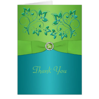 Turquoise and Lime Floral Thank You Card