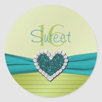 Turquoise and Lime Glitter Heart Round Sticker sticker