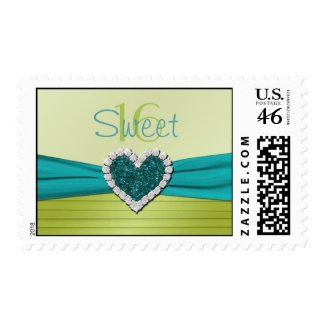 Turquoise and Lime Glitter Heart Sweet 16 Postage stamp