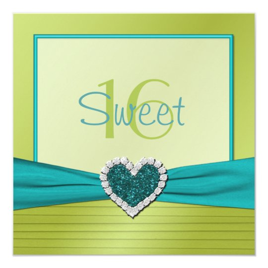 Turquoise and Lime Glitter Heart Sweet Sixteen Card