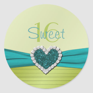 Turquoise and Lime Glitter Heart Sweet Sixteen Classic Round Sticker