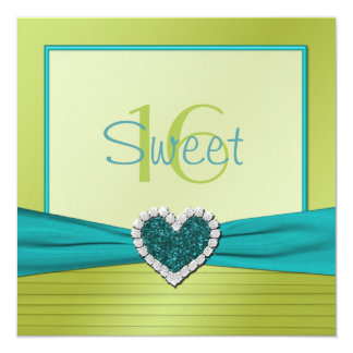 Turquoise and Lime Glitter Heart Sweet Sixteen 5.25x5.25 Square Paper Invitation Card