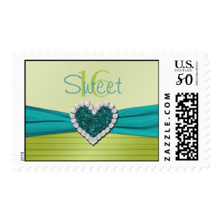 Turquoise and Lime Glitter Heart Sweet Sixteen Postage