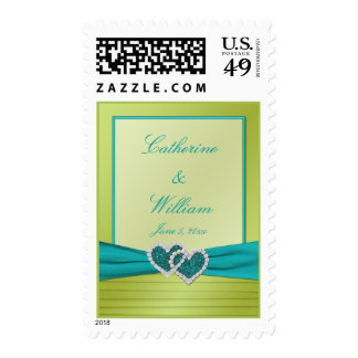 Turquoise and Lime Glitter Hearts Postage