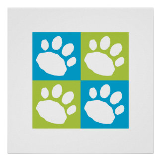 Turquoise and Lime Green Checkerboard Paw Print