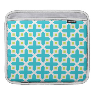 Turquoise and Lime Green Cross Section Pattern iPad Sleeves