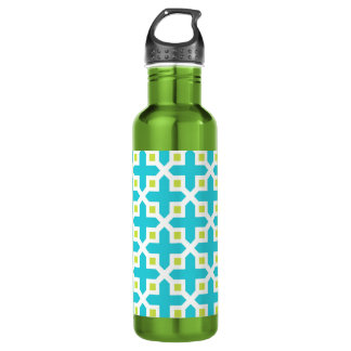 Turquoise and Lime Green Cross Section Pattern 24oz Water Bottle