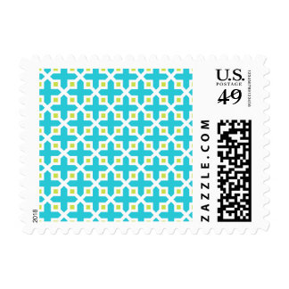 Turquoise and Lime Green Cross Section Pattern Stamp