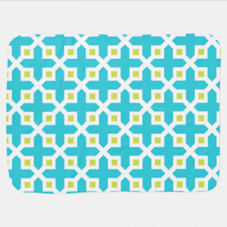 Turquoise and Lime Green Cross Section Pattern Swaddle Blanket