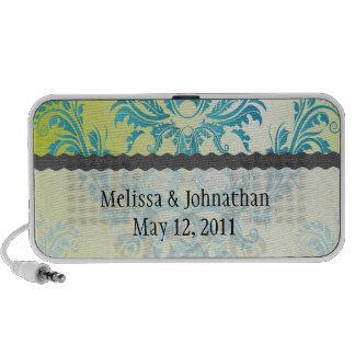 turquoise and lime green damask wedding keepsake portable speaker
